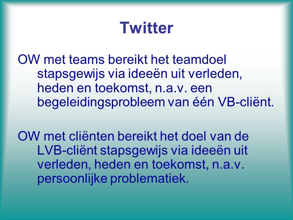 Twitter OW met teams bereikt het teamdoel stapsgewijs via ideeën uit verleden, heden en toekomst, n.a.v. een begeleidingsprobleem van één VB-cliënt.