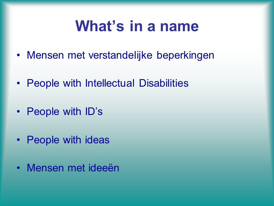 What's in a name Mensen met verstandelijke beperkingen