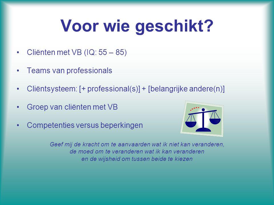 Voor wie geschikt Cliënten met VB (IQ: 55 – 85)