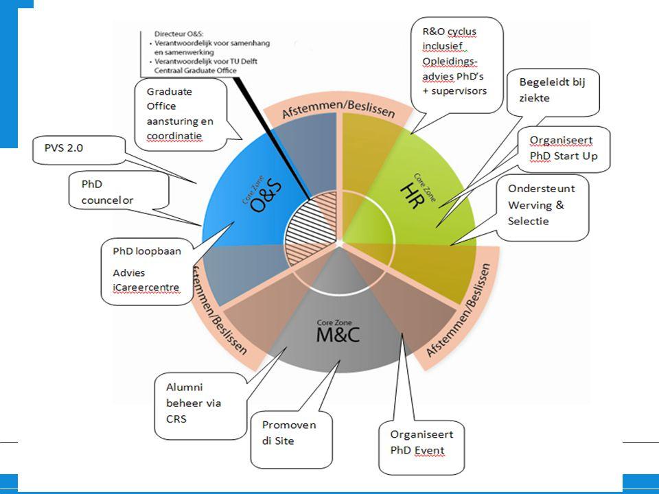 Schematische weergave van taken van de verschillende domeinen