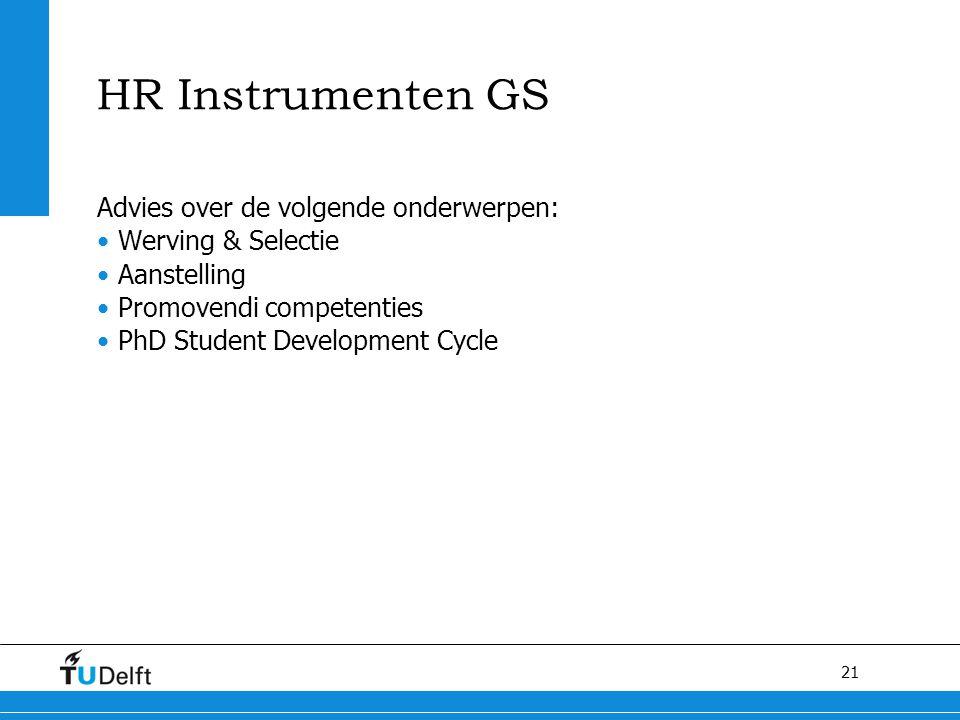 HR Instrumenten GS Advies over de volgende onderwerpen: