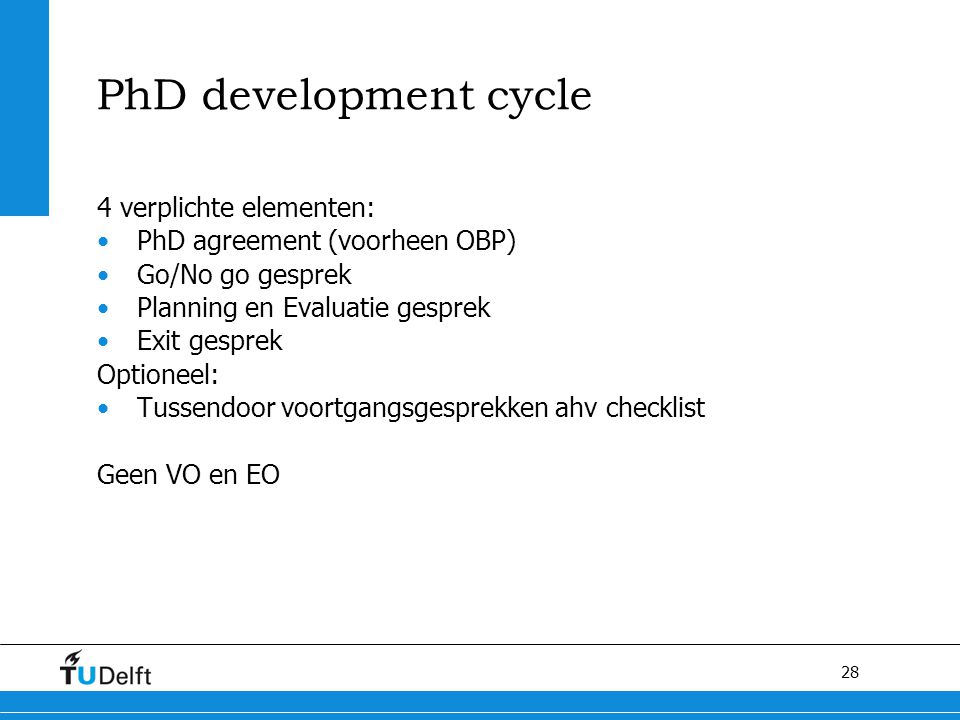 PhD development cycle 4 verplichte elementen: