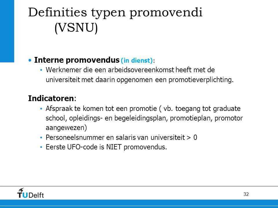 Definities typen promovendi (VSNU)