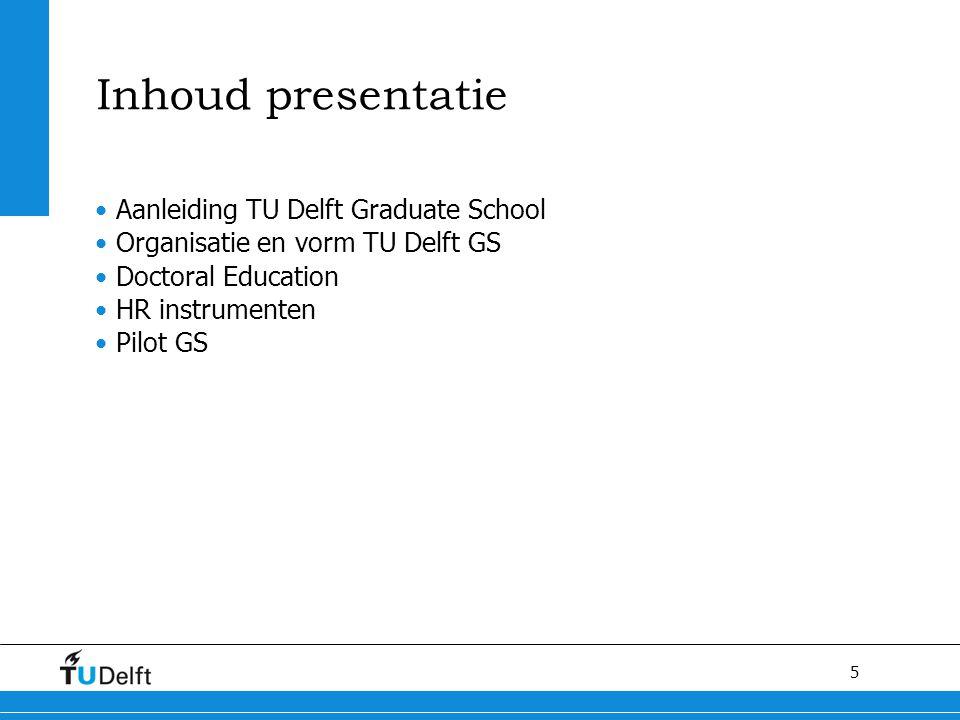Inhoud presentatie Aanleiding TU Delft Graduate School