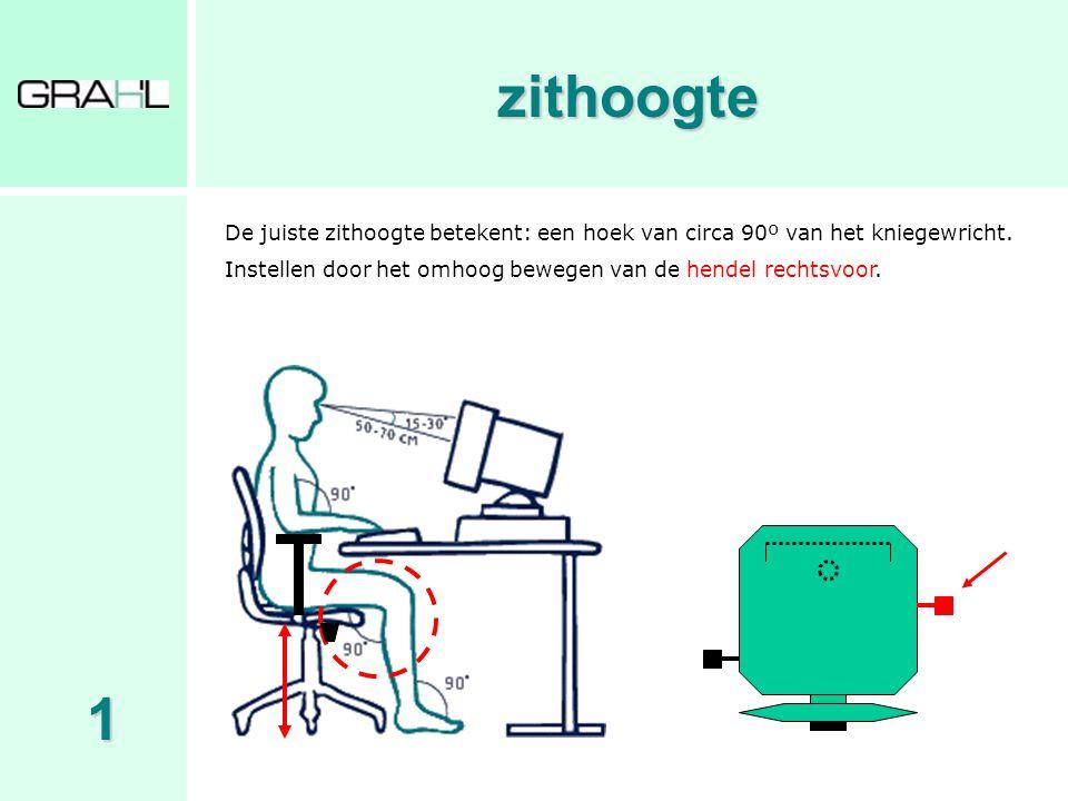 zithoogte De juiste zithoogte betekent: een hoek van circa 90º van het kniegewricht. Instellen door het omhoog bewegen van de hendel rechtsvoor.