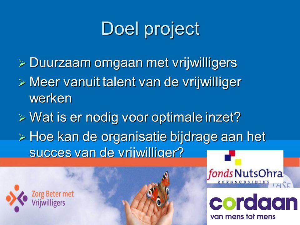 Doel project Duurzaam omgaan met vrijwilligers