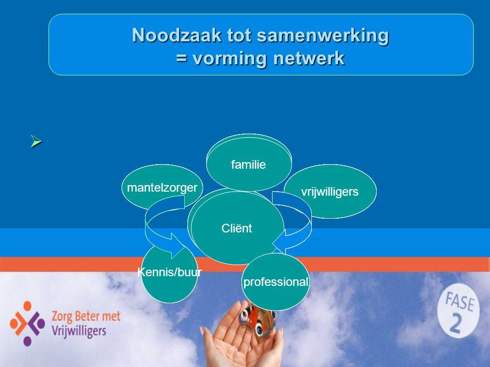 Noodzaak tot samenwerking = vorming netwerk
