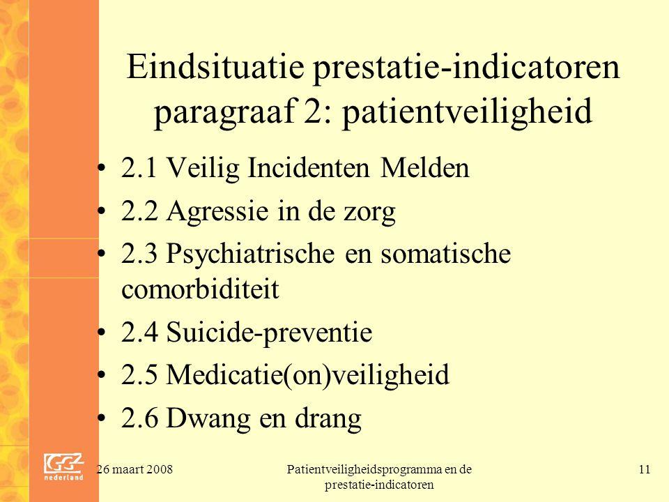 Eindsituatie prestatie-indicatoren paragraaf 2: patientveiligheid