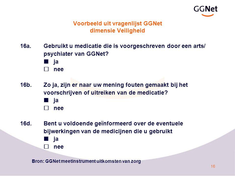 Voorbeeld uit vragenlijst GGNet dimensie Veiligheid