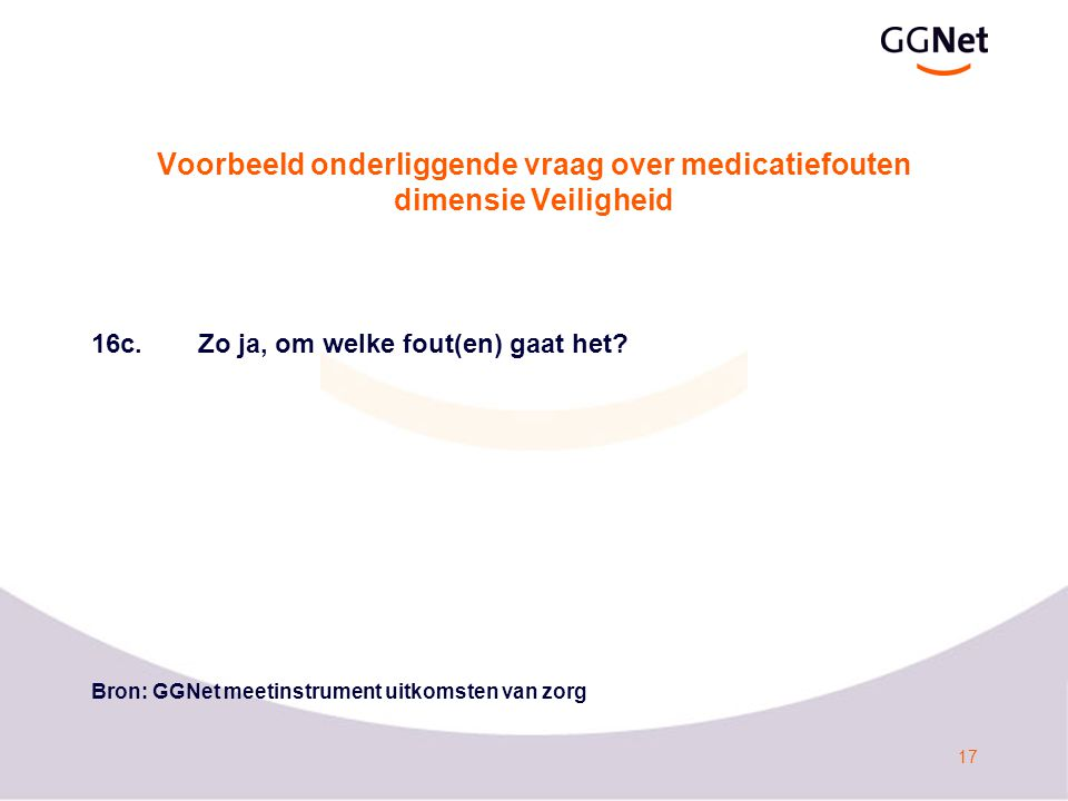 Voorbeeld onderliggende vraag over medicatiefouten dimensie Veiligheid