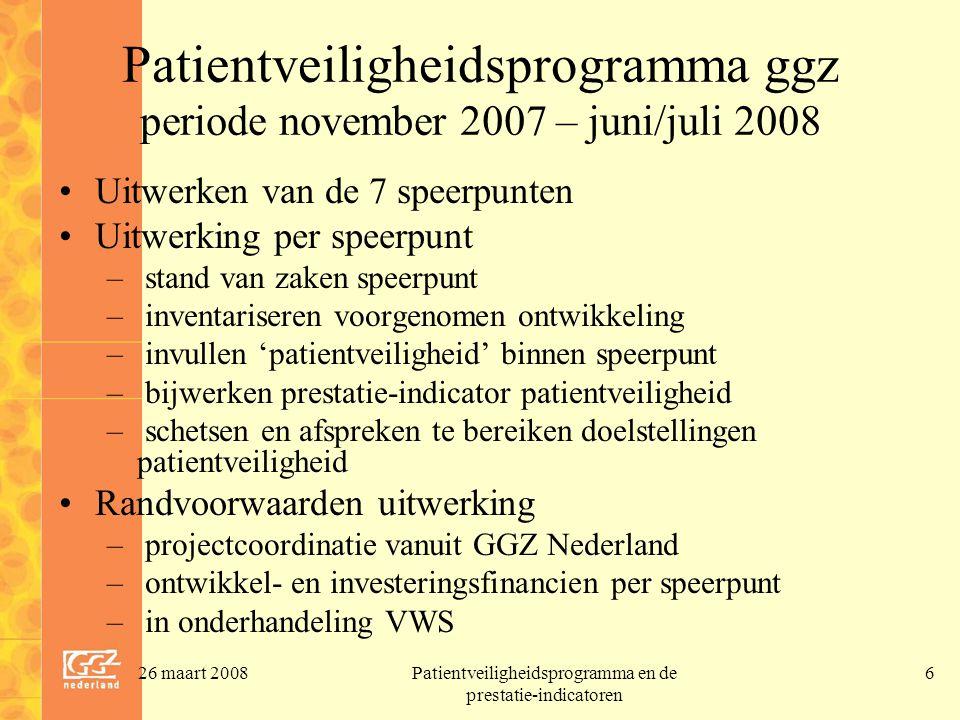 Patientveiligheidsprogramma ggz periode november 2007 – juni/juli 2008