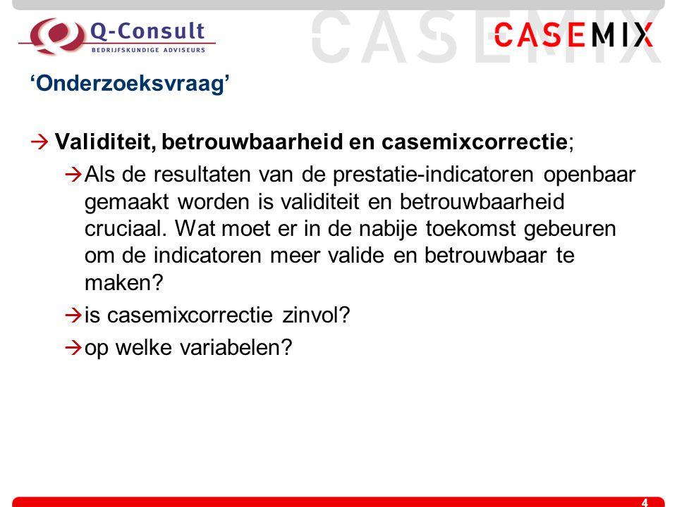 'Onderzoeksvraag' Validiteit, betrouwbaarheid en casemixcorrectie;