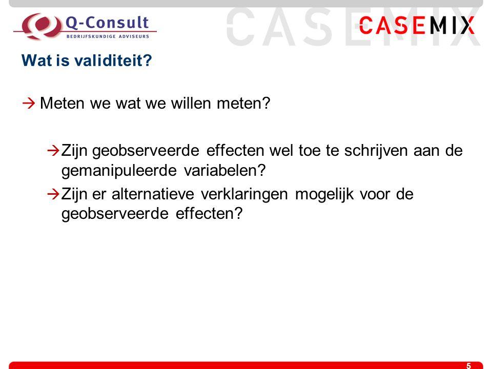 Wat is validiteit Meten we wat we willen meten Zijn geobserveerde effecten wel toe te schrijven aan de gemanipuleerde variabelen