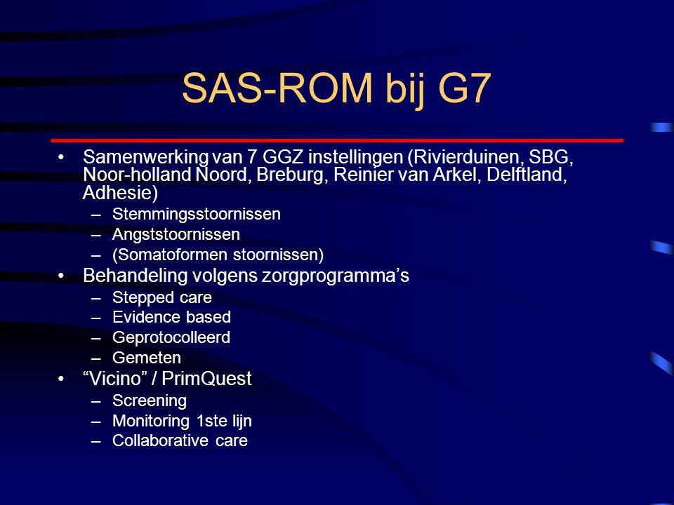 SAS-ROM bij G7 Samenwerking van 7 GGZ instellingen (Rivierduinen, SBG, Noor-holland Noord, Breburg, Reinier van Arkel, Delftland, Adhesie)