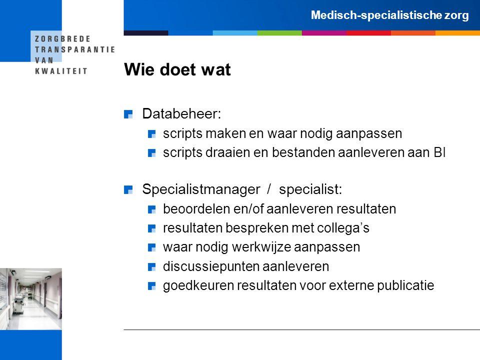 Wie doet wat Databeheer: Specialistmanager / specialist: