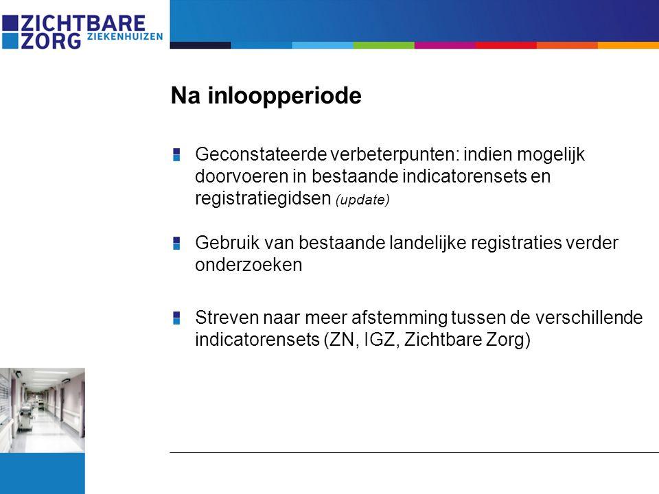Na inloopperiode Geconstateerde verbeterpunten: indien mogelijk doorvoeren in bestaande indicatorensets en registratiegidsen (update)
