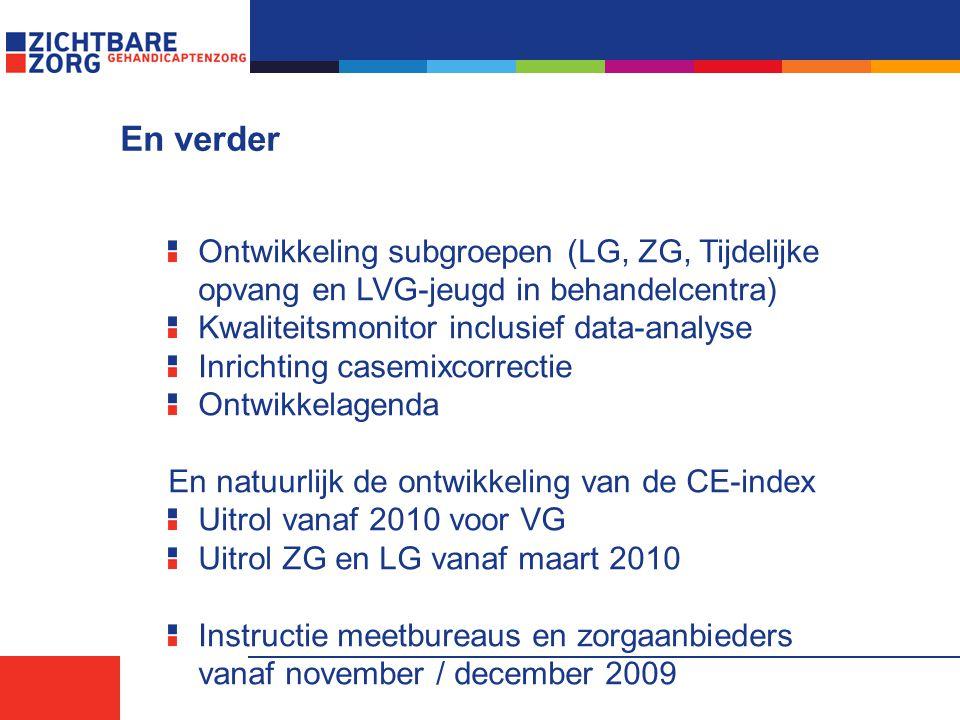 En verder Ontwikkeling subgroepen (LG, ZG, Tijdelijke opvang en LVG-jeugd in behandelcentra) Kwaliteitsmonitor inclusief data-analyse.