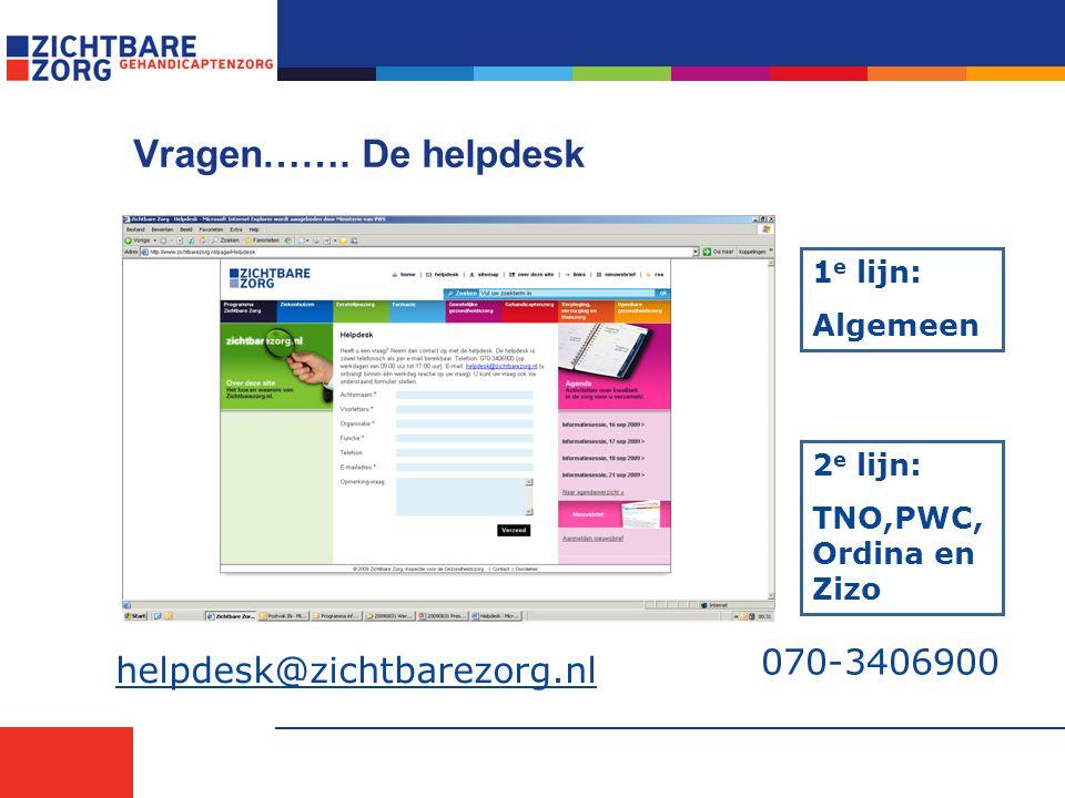 Vragen……. De helpdesk 070-3406900 helpdesk@zichtbarezorg.nl 1e lijn: