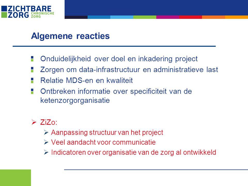Algemene reacties Onduidelijkheid over doel en inkadering project