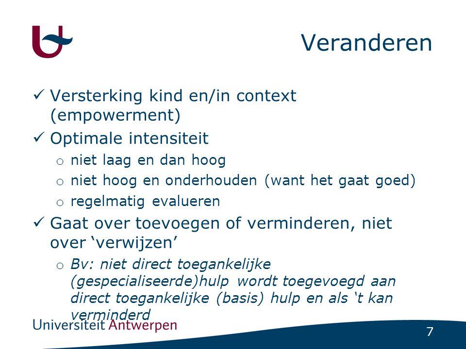 Veranderen Versterking kind en/in context (empowerment)