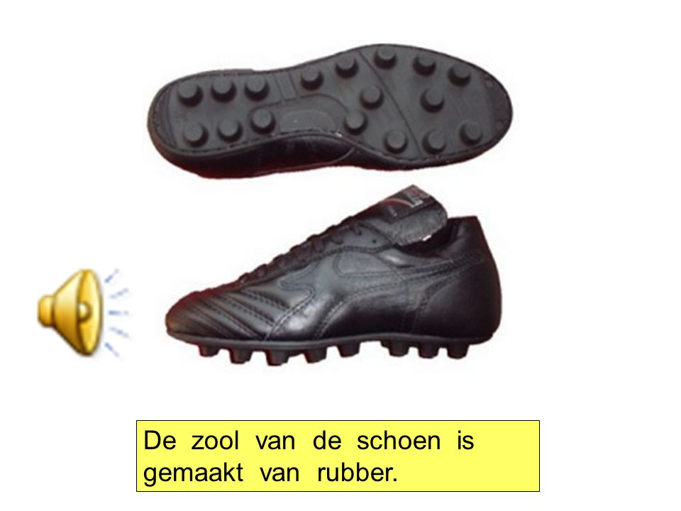 De zool van de schoen is gemaakt van rubber.