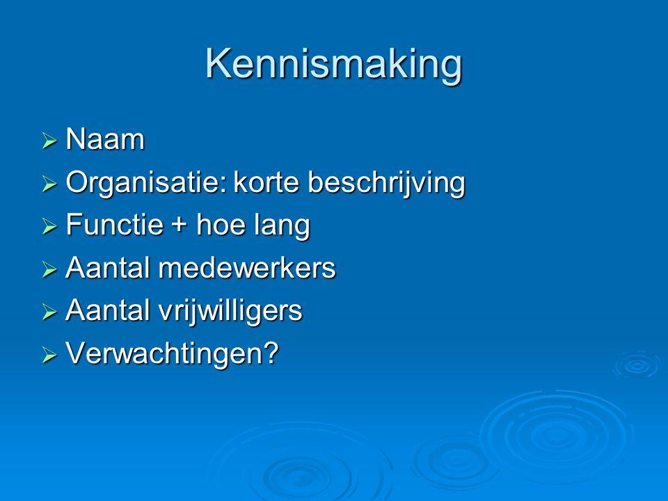 Kennismaking Naam Organisatie: korte beschrijving Functie + hoe lang