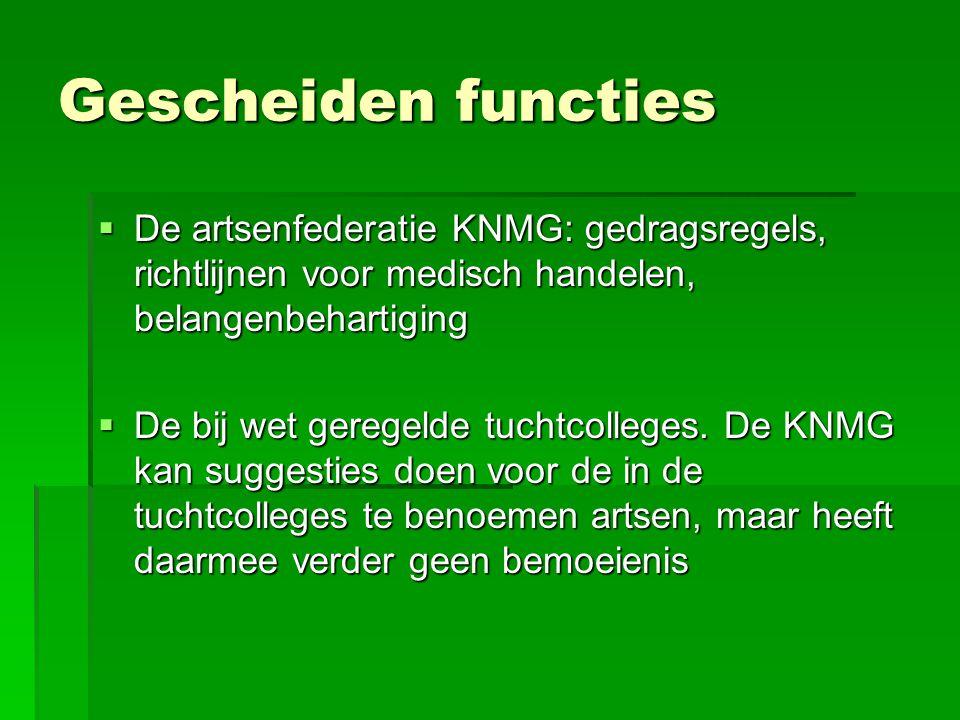 Gescheiden functies De artsenfederatie KNMG: gedragsregels, richtlijnen voor medisch handelen, belangenbehartiging.