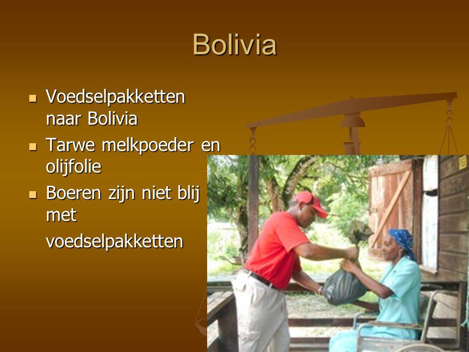Bolivia Voedselpakketten naar Bolivia Tarwe melkpoeder en olijfolie