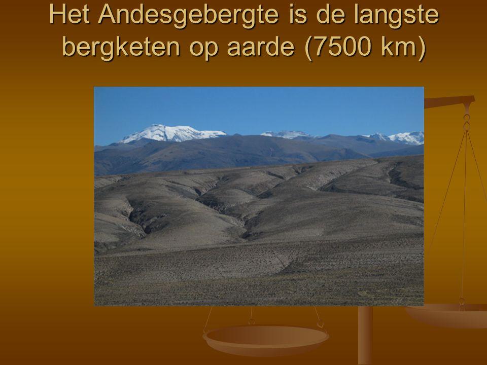 Het Andesgebergte is de langste bergketen op aarde (7500 km)