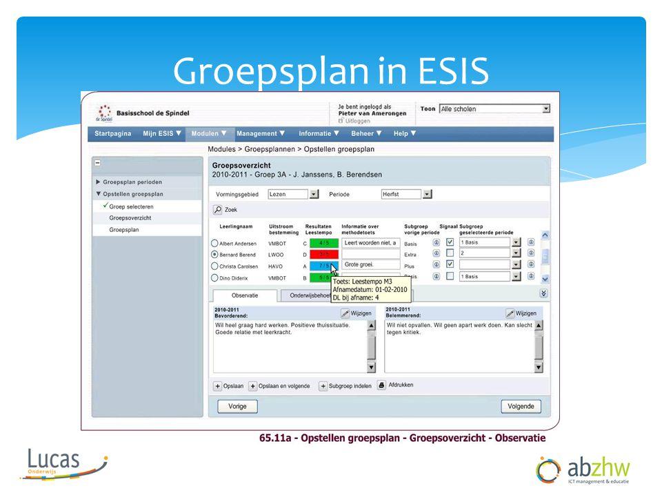 Groepsplan in ESIS