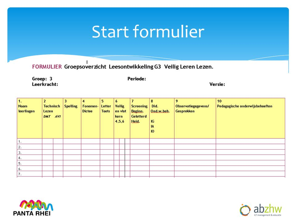 Start formulier