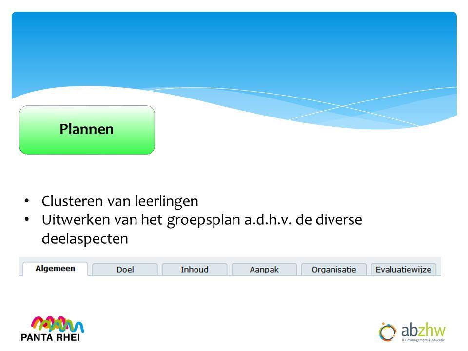 Plannen Clusteren van leerlingen Uitwerken van het groepsplan a.d.h.v. de diverse deelaspecten