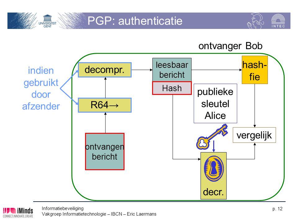 PGP: authenticatie ontvanger Bob hash- indien decompr. fie gebruikt