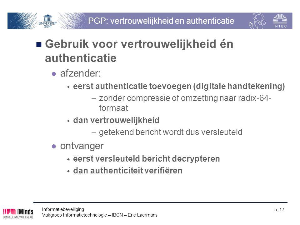 PGP: vertrouwelijkheid en authenticatie