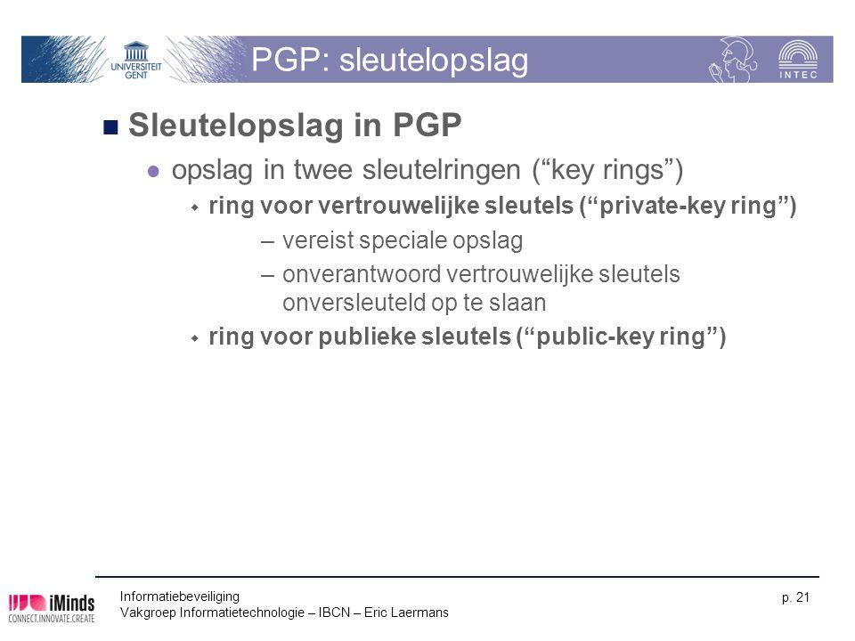 PGP: sleutelopslag Sleutelopslag in PGP