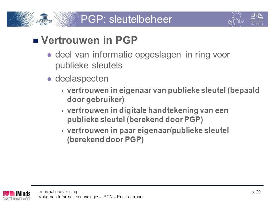 PGP: sleutelbeheer Vertrouwen in PGP