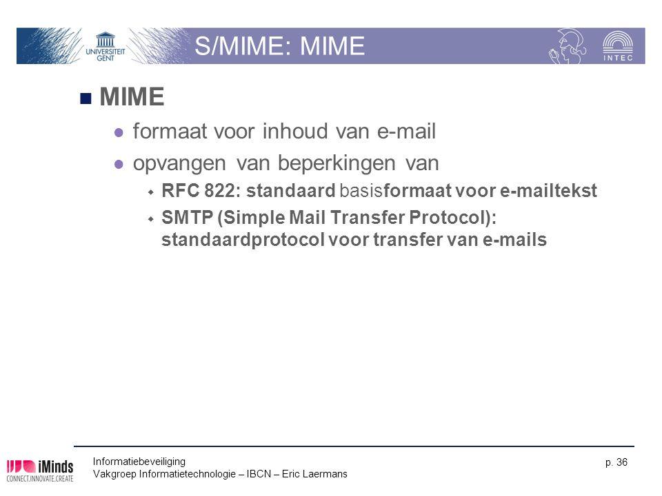 S/MIME: MIME MIME formaat voor inhoud van e-mail