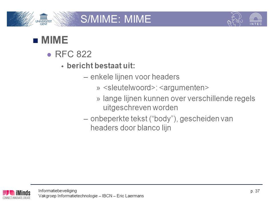 S/MIME: MIME MIME RFC 822 bericht bestaat uit:
