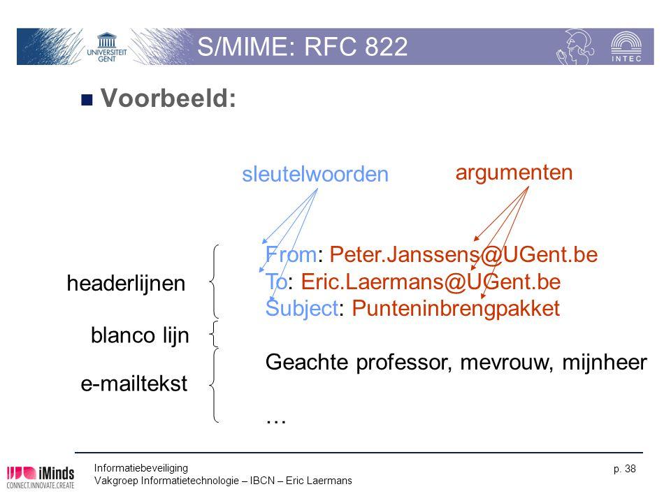 S/MIME: RFC 822 Voorbeeld: sleutelwoorden argumenten