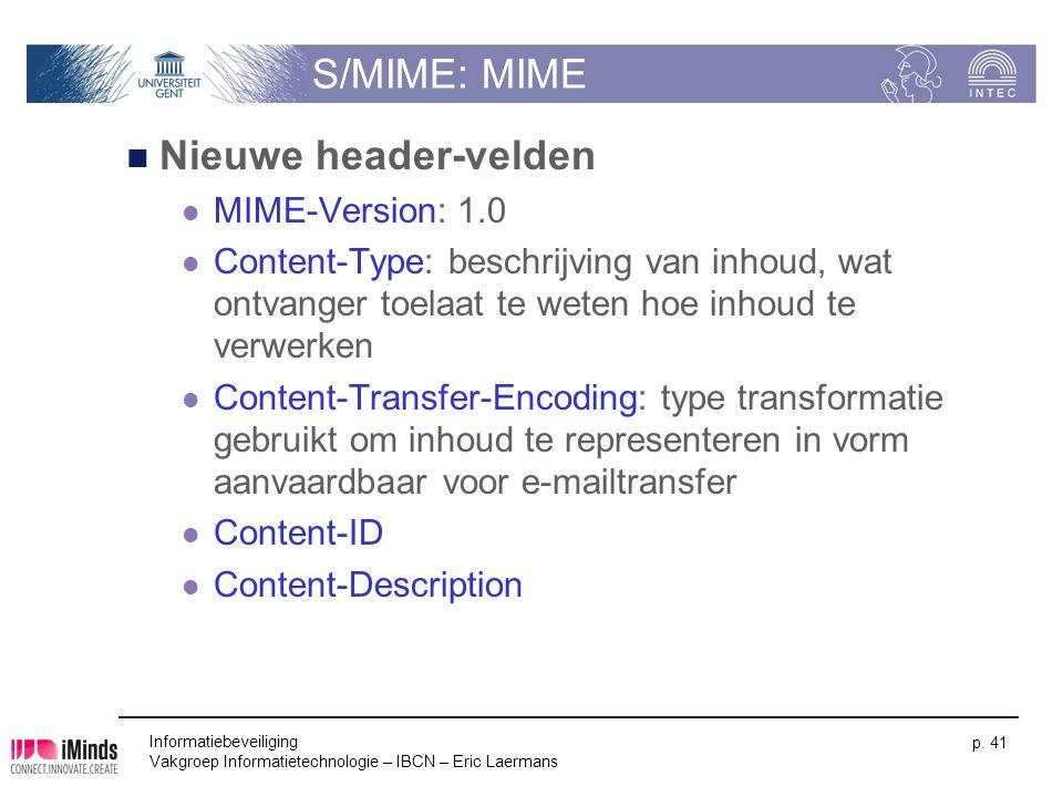 S/MIME: MIME Nieuwe header-velden MIME-Version: 1.0