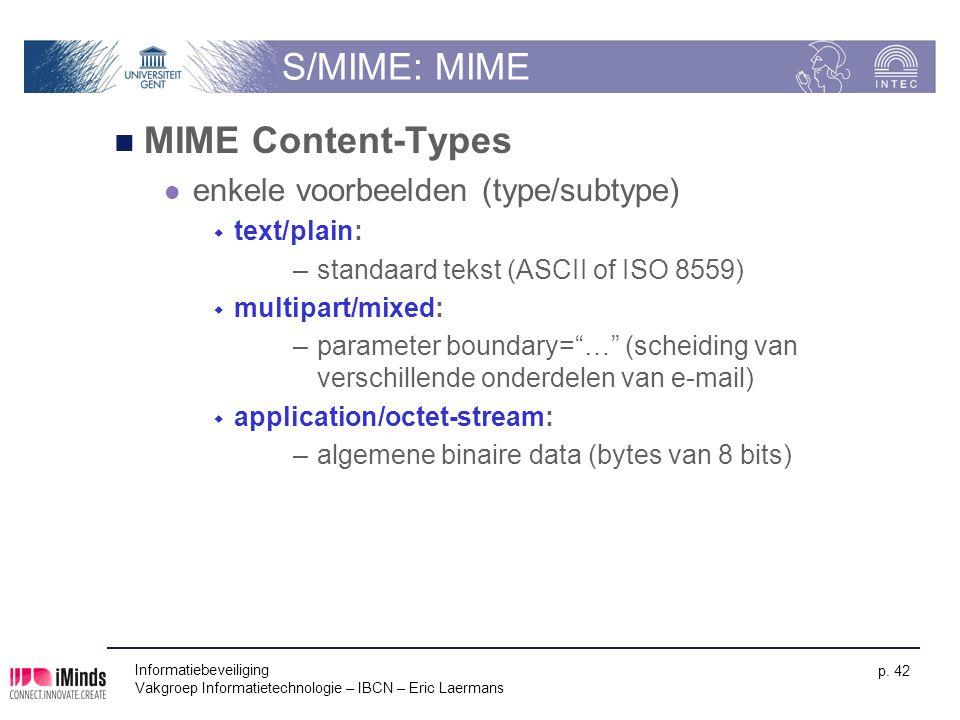 S/MIME: MIME MIME Content-Types enkele voorbeelden (type/subtype)