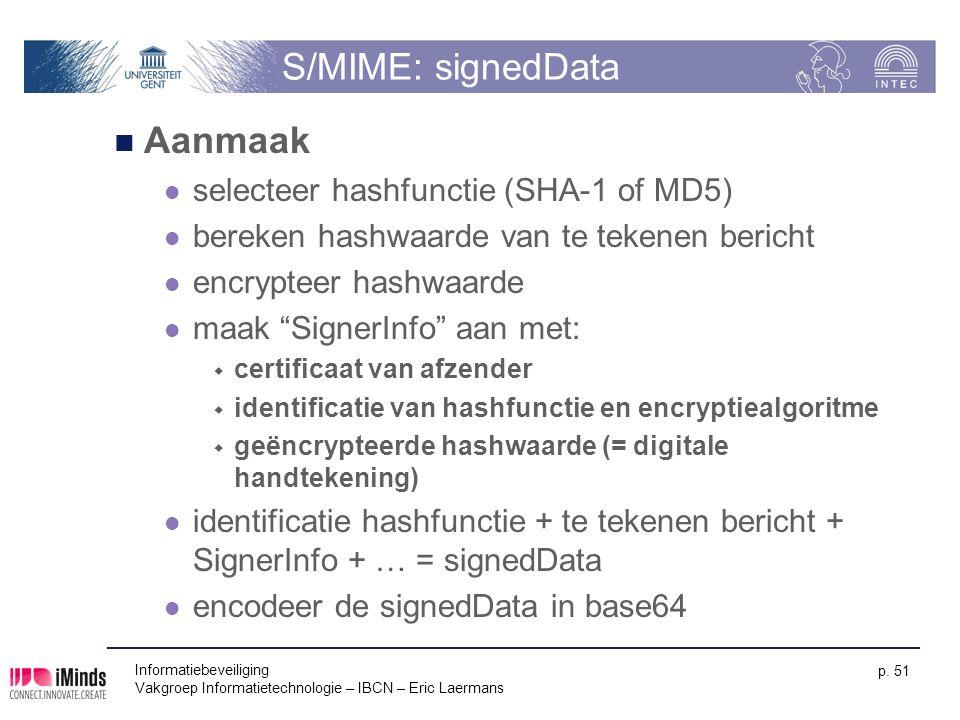 S/MIME: signedData Aanmaak selecteer hashfunctie (SHA-1 of MD5)