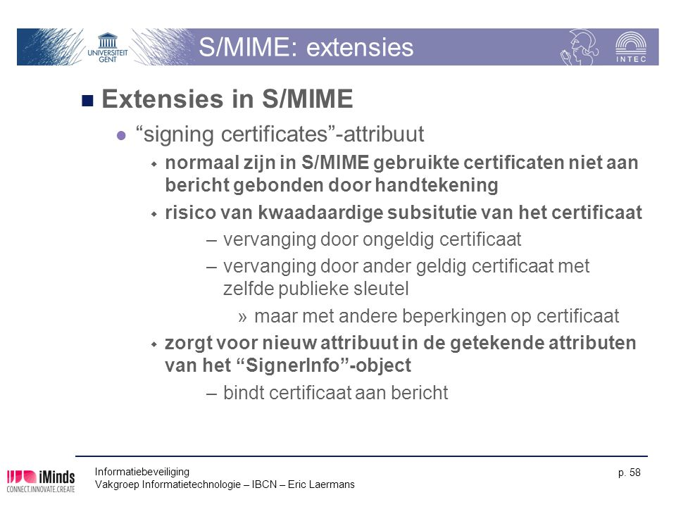 S/MIME: extensies Extensies in S/MIME signing certificates -attribuut