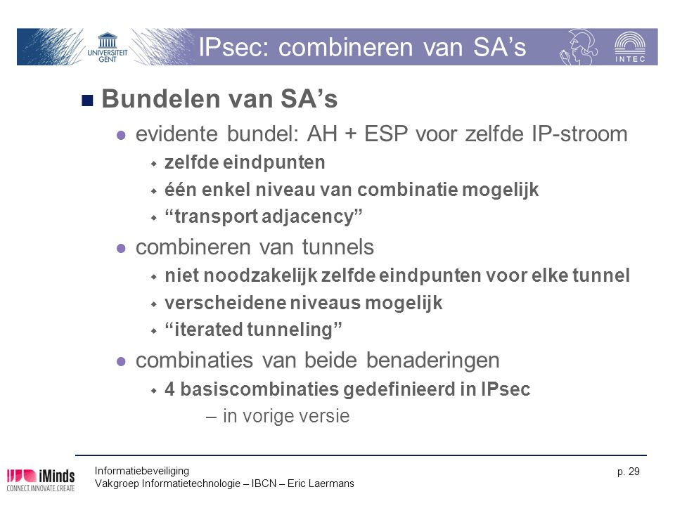 IPsec: combineren van SA's