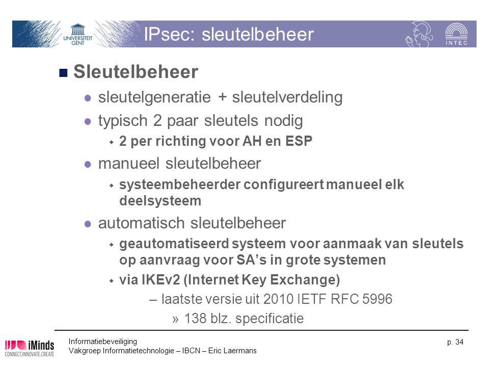 IPsec: sleutelbeheer Sleutelbeheer sleutelgeneratie + sleutelverdeling