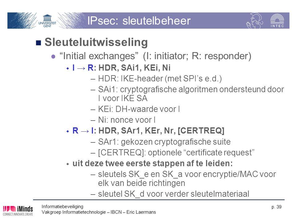 IPsec: sleutelbeheer Sleuteluitwisseling