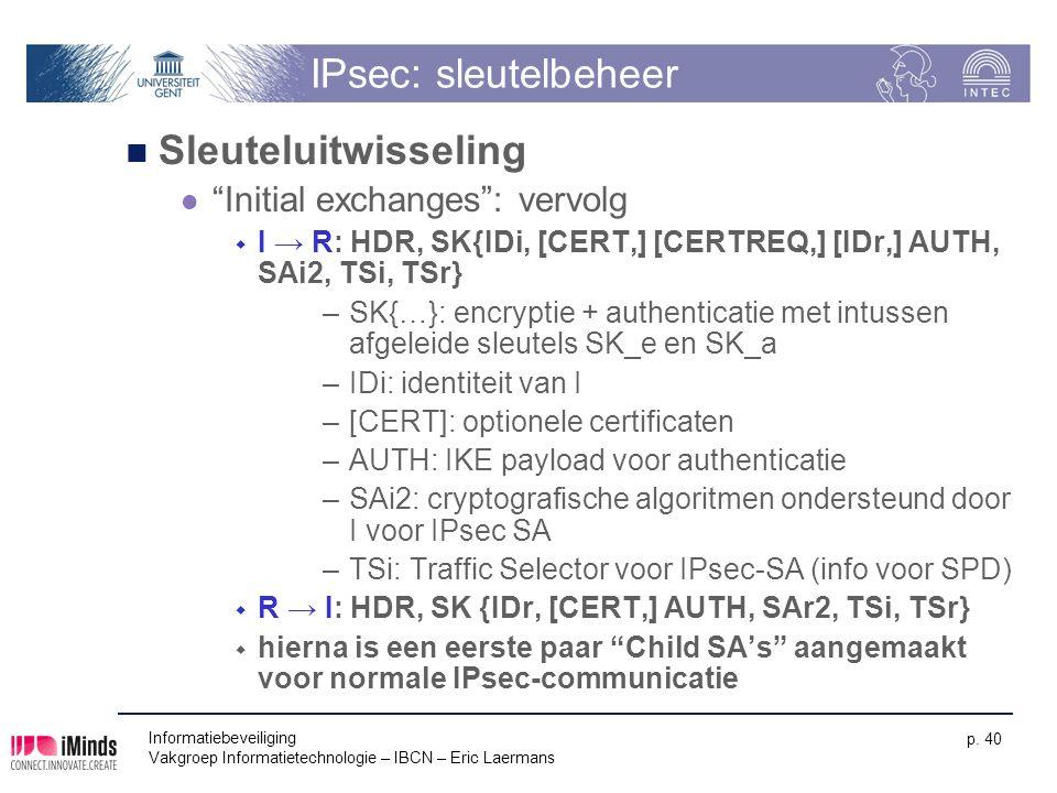 IPsec: sleutelbeheer Sleuteluitwisseling Initial exchanges : vervolg