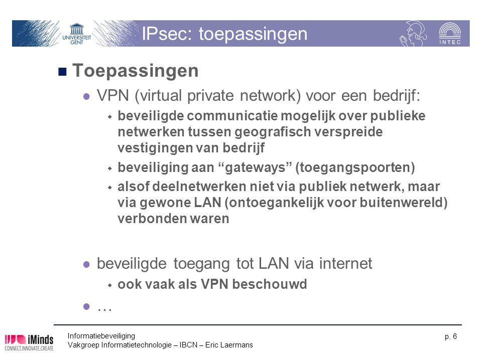 IPsec: toepassingen Toepassingen