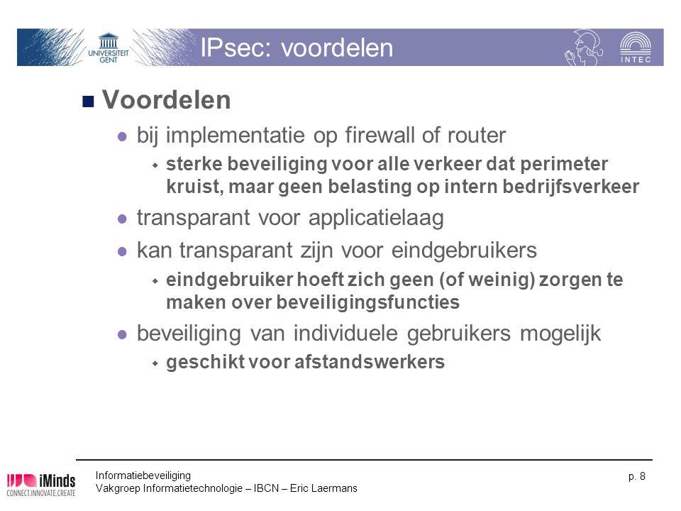 IPsec: voordelen Voordelen bij implementatie op firewall of router