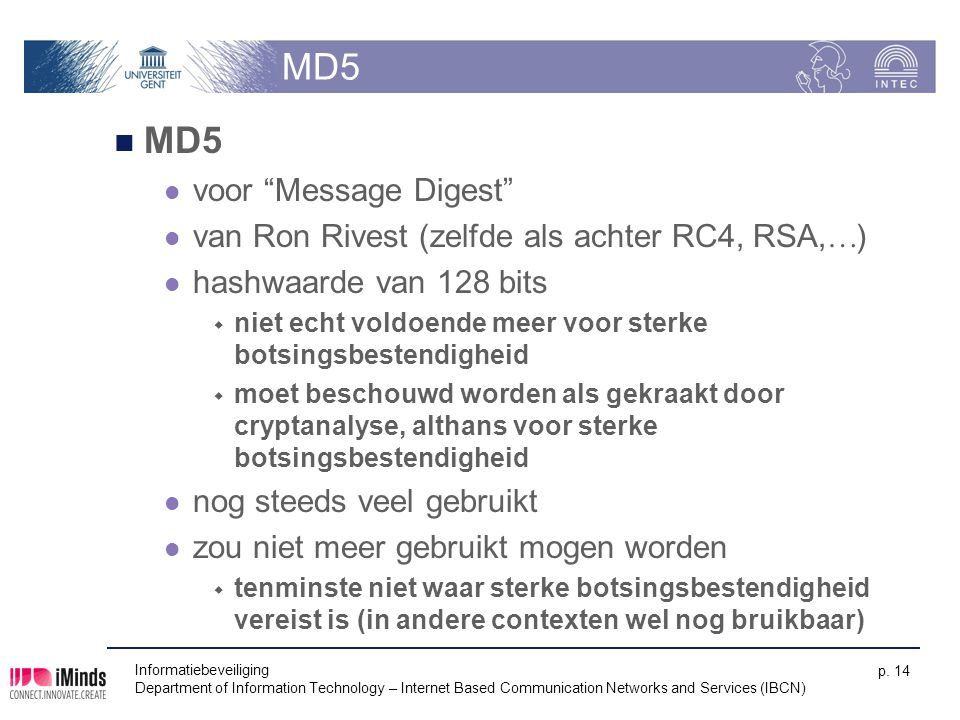 MD5 MD5 voor Message Digest